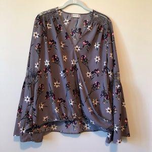 Altar'd State wrap floral blouse size large